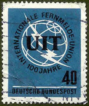 022 Deutsche Bundespost - Wert 40 - 100 Jahre Internationale Fernmelde Union